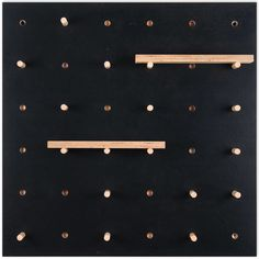 Practical wooden wall storage solution for studios and workspaces. Black Pegboard, Wooden Pegboard, Wooden Pegs, Wooden Shelves, Wooden Walls, Diy Kitchen Storage, Wall Storage, Craft Storage, Paper Storage