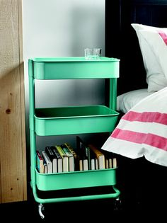 Raskog Kitchen Cart, Ikea    It also comes in a dark metal grey. I actually love this as a nightstand, it is on wheels, so you can pull it closer or move it around as you see fit. Place for books or games. Would like to repaint my old tall dresser in this turquoise color. The ? is: do I get two of the same color, or one color for me, one for the hubby?