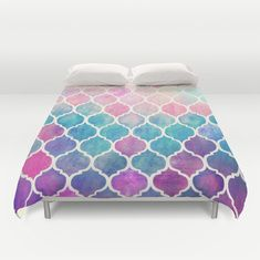 Rainbow Pastel Watercolor Moroccan Tile Duvet Cover | Society6