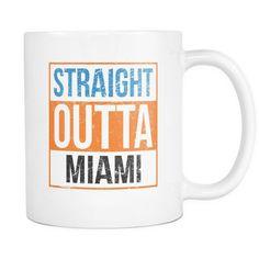 Straight Outta Miami Baseball Coffee Mug, 11 Ounce