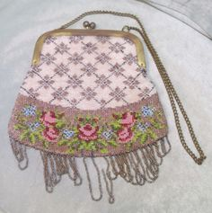 Vintage Beaded PURSE, Glass Beads: Copper, Pink, Red, Green more, Lined in Suede #EveningBag