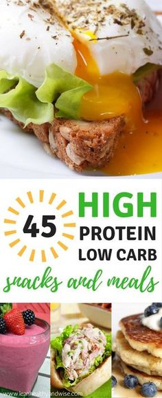 Discover the best high protein low carb yummy recipes that are super healthy and will leave you fuller longer. Eat right and boost weight loss effortlessly. via Diet 45 High Protein Low Carb Snacks and Meals: Best Weight Loss Recipes Healthy Protein Snacks, High Protein Recipes, Low Carb Recipes, Diet Recipes, Healthy Recipes, Protein Foods, High Protein Snacks On The Go, Smoothie Recipes, Oat Smoothie