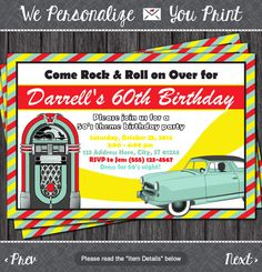 50's Birthday Invitation - Sock Hop Theme - 1950's Fifties Invitation by PuggyPrints
