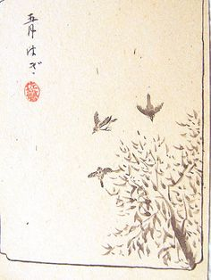 Japanese Postcard Sparrows in May Pre World by VintageFromJapan, $8.50