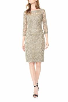 """Smoke Pearl ¾ Sleeve Metallic Embroidered Tulle Cocktail Dress. A Bateau Neckline, Sheer ¾ Sleeves, and V-Back. Center Back Zip and Scalloped Edging.Fully Lined    Measurements: approx: 40"""" from Shoulder   Metallic Embroidered Dress by Tadashi Shoji. Clothing - Dresses - Formal New Jersey"""