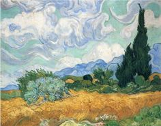 Wheatfield with cypress tree - Vincent van Gogh