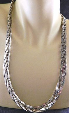 Vintage Braided Omega Chain Statement Necklace Silver Tone Retro Costume Jewelry #StrandString