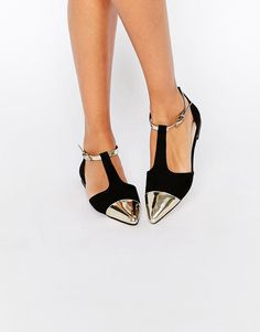 LOVE this from ASOS! Obsessed with the metallic pointy toe and t strap!!!