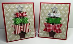 The Designer Series Paper I used for these cards is Trim The Tree -so darn cute! Bow are made with an oval punch