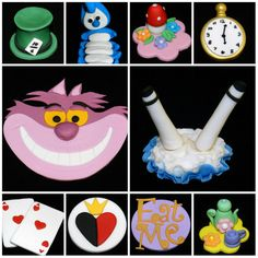 ALICE in WONDERLAND Mushroom Caterpillar Teapot  Mad Hatter Cat Queen of Hearts Cupcake and Cake Topper Set