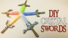 how to: miniature crystal swords Polymer Clay Charms, Polymer Clay Creations, Clay Tutorials, Free Tutorials, Video Tutorials, Crystal Sword, Craft Websites, Doll Home, Cute Clay