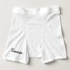 """Groom"" Boxer Briefs can say whatever you like on the front & back! Great gift! Fun wedding shower gift! ""Bride"" also available in boyshorts, thongs & briefs."