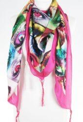 Driehoekige dubbele satijn-zijden STROKE-sjaal, met print aan twee kanten