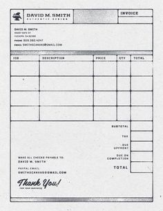 Invoice - by David M. Smith