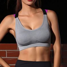 dc7b10d016e0b Fitness Yoga Push Up Sports Bra for Womens Gym Running Padded Tank Top  Athletic Vest Underwear Shockproof Strappy Sport Bra Top