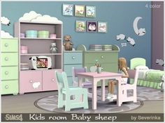 Kids room Baby sheep the sims 4 Toddler Furniture, Sims 4 Cc Furniture, Furniture Sets, Kids Bedroom Sets, Kids Room, Mods Sims 4, The Sims 4 Bebes, Sims 4 Bedroom, Sims 4 Cc Kids Clothing