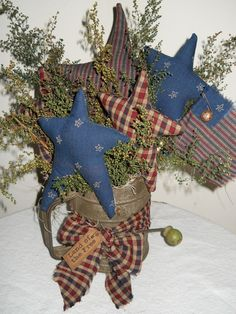 Primitive Americana Patriotic Homespun Stars by easterhillprims