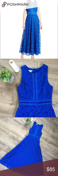 LONDON TIMES BLUE LACE GOWN - SIZE 10 London Times blue with lace overlay floor length gown. Good for formal event like prom or wedding. Only been worn once. No issues. Great condition. London Times Dresses Wedding