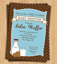 cookies and milk baby shower invite idea
