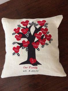Redblack and off white Family Tree Pillow cover by GramsCozyCorner