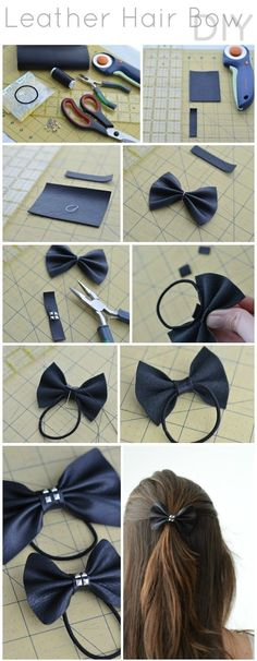 DIY LEATHER HAIR BOW diy crafts craft ideas easy crafts diy ideas crafty easy diy diy jewelry diy hair jewelry diy craft hair accessories by abarekrystal Diy Hair Bows, Diy Bow, Ribbon Hair, How To Make Hair, How To Make Bows, Papier Kind, Diy Kleidung, Diy Accessoires, Bow Tutorial