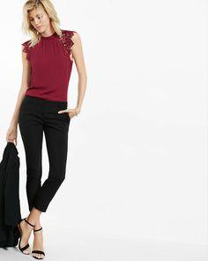 crocheted cap sleeve high neck blouse I love express