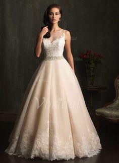 Robes de mariée - $269.99 - Forme Marquise Col rond Traîne moyenne Tulle Robe de mariée avec Dentelle Emperler Sequins (00205003310)