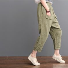 Tea green pants linen crop pantsThis dress is made of cotton linen fabric, soft and breathy, suitable for summer, so loose dresses to make you comfortable all the time.Measurement: One Size: length 77cm / 30.03