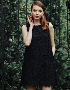 Sleeveless Round Collar Lace Solid A-Line Going Out Dress