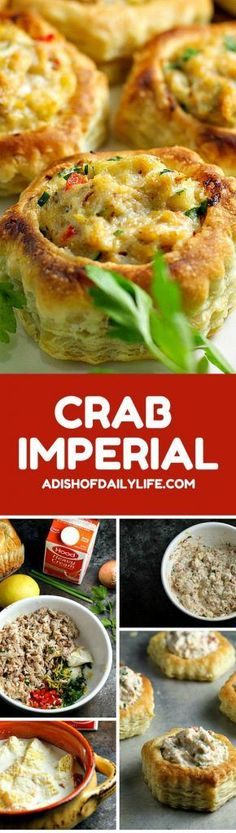 Crab Imperial Appetizer Crab Imperial is an easy-to-make, elegant appetizer recipe, perfect for a special occasion or holiday entertaining! No Cook Appetizers, Appetizer Dishes, Elegant Appetizers, Appetizer Recipes, Delicious Appetizers, Mexican Appetizers, Halloween Appetizers, Christmas Appetizers, Healthy Appetizers