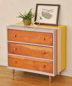 Before & After: Sarah's Striped Dresser – Design*Sponge 70s Furniture, Refurbished Furniture, Mid Century Furniture, Furniture Projects, Painted Furniture, Furniture Design, Bedroom Furniture, Modern Furniture, Entryway Furniture