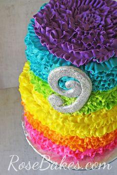Rainbow Ruffles Cake