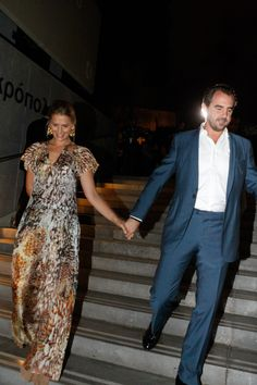 Prince Nikolaos arrived hand in hand with his wife, Princess Tatiana. Greece