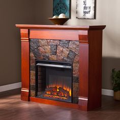 Boston Loft Furnishings 45.5-in W Mahogany LED Electric Fireplace with Thermostat and Remote Control