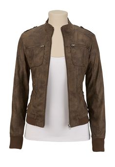 Washed Brown Faux Leather Jacket