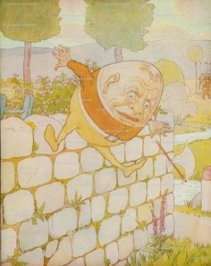 Humpty Dumpty had a great fall. Artist: Brooke, Leonard Leslie Book Title: A nursery rhyme picture book Author: Anonymous Published: London, n. Source: The New York Public Library, the Internet Archive Hey Diddle Diddle, Scrapbook Blog, Humpty Dumpty, Vintage Nursery, Children's Book Illustration, Book Illustrations, Poster Prints, Art Prints, Picture Collection