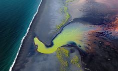Aerial view of south coast rivers, Iceland.