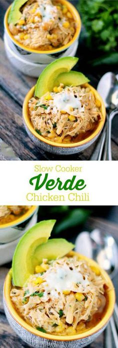 Slow Cooker Verde Chicken Chili - An easy white chili recipe with a spicy kick. Make it for dinner and I guarantee your mouth will water! (Whole 30 Recipes Taco) Crock Pot Recipes, Crock Pot Cooking, Chili Recipes, Slow Cooker Recipes, Mexican Food Recipes, Soup Recipes, Cooking Recipes, Healthy Recipes, Fast Recipes