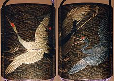Case (Inrô) with Design of Cranes in Flight over Waves  Period: Edo period (1615–1868) Date: 19th century Culture: Japan Medium: Lacquer, roiro, togidashi, gold, silver, black and red hiramakie, gold foil; Interior: nashiji and fundame