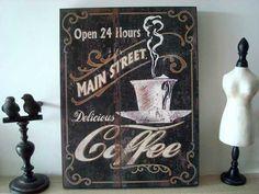 """Grand panneau décoratif """"Coffee"""" : 19.50€ (46 x 35 cm)"""