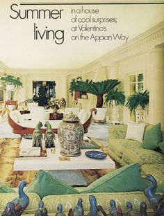 s home - Appian Way Rome. Gentlemans Quarters, Appian Way, Tropical Beach Houses, Living Room Color Schemes, Decorating Coffee Tables, Room Colors, Beautiful Interiors, Vintage Prints, Interior And Exterior