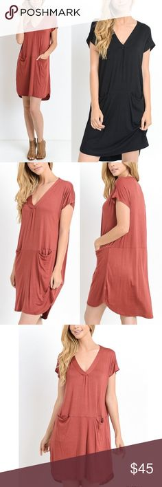 🆕ARANA solid v-neck dress w/ pockets - BLACK Solid, short sleeve v-neck dress w/ front pockets. Unlined. Non-sheer. Lightweight.   -Model is 5'8'' and is wearing a Small.  AVAILABLE IN MARSALA AND BLACK.  MADE IN THE USA  🚨🚨PRICE FIRM, NO TRADE🚨🚨 Bellanblue Dresses