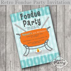 Retro Fondue  Birthday Party Invitations by SmartyPartyDesigns