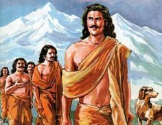 Pandavas and Draupati climbing the Himalayas-The Yadava clan began to fight among themselves. Krishna and Balarama also died leaving none to succeed the throne.When Pandavas heard the news of destruction of the Yadavas and Krishna's demise, they decided to crown the young prince Parikshit and retire to Himalayas, threw their weapons into the river and started for their endless journey to the top of the Himalayas along with Draupadi, a dog accompanied them.