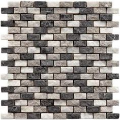 For my kitchen!!!!  Merola Tile Griselda 12 in. x 11-1/2 in. Charcoal Natural Stone Subway Mesh-Mounted Mosaic Tile-FXLGRCH at The Home Depot