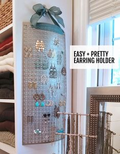 Make this DIY hanging earring holder in 10 minutes or less. Keeps your jewelry untangled and organized! Make this DIY hanging earring holder in 10 minutes or less. Keeps your jewelry untangled and organized! Diy Earring Holder, Diy Jewelry Holder, Necklace Holder, Bracelet Holders, Diy Bracelet, Diy Earring Storage, Diy Storage, Storage Ideas, Cuff Bracelets