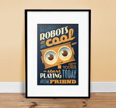 Robots are Cool  13 x 19  Vintage Poster  by twenty21onecreative, $25.00 #robot #gifts