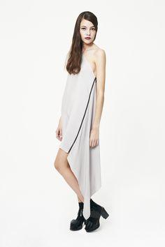 double crepe grey silk dress , one shoulder , zip side detail