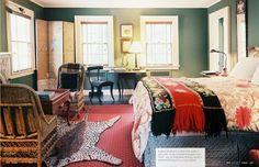 Eclectic Bedroom Photos of - Lonny Bedroom Green, Bedroom Colors, Bedroom Decor, Cozy Bedroom, Bohemian Bedroom Design, Interior Design Themes, Bedroom Photos, Eclectic Design, Bedroom Vintage