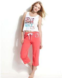 Hello Kitty Summer Breeze Top & Pajama Pants in Coral - Size Medium - NWT Ladies #HelloKitty #PajamaSets